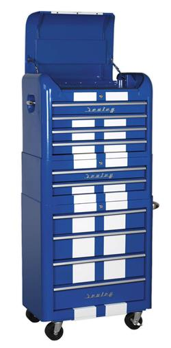 Sealey AP28COMBO2BWS - Retro Style Topchest, Mid-Box & Rollcab Combination 10 Drawer Blue/White Stripes