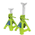 Sealey VS2002HV - Axle Stands (Pair) 2tonne Capacity per Stand Ratchet Type - Hi-Vis Green